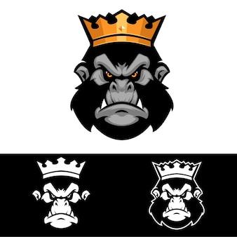 고릴라의 왕 영장류 동물 로고 템플릿