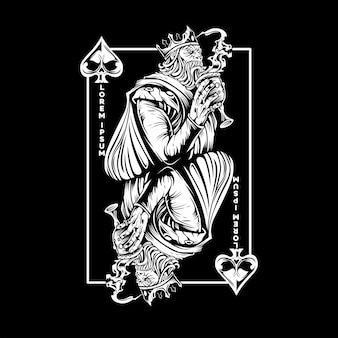 Король пик игральная карта в стиле силуэта