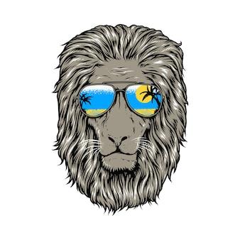夏の王様動物ライオンビーチイラスト