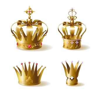 King or queen golden crowns decorated with precious gems