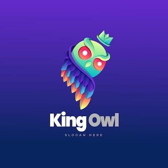 King owl gradient logo template