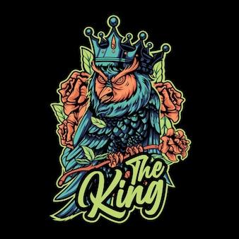 King owl premium vector