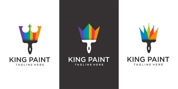Логотип king paint кисть и корона с простой цветной концепцией плоского логотипа