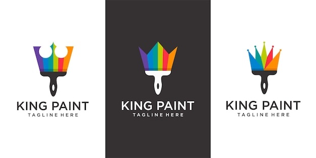King paint logo paintbrush and crown with simple flat logo concept in color