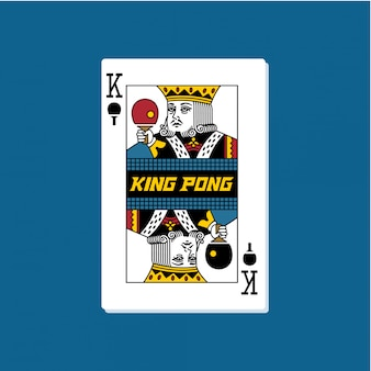 King pong playing cards illustrations