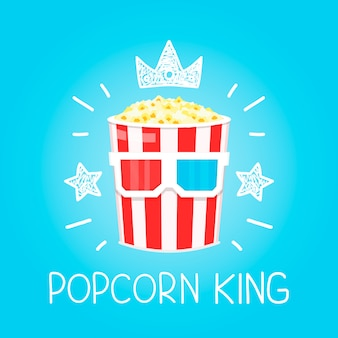King popcorn  for cinema  cartoon flat and doodle illustration. crown and stars icon