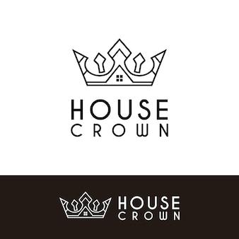 King queen crown house real estate premium apartment building luxury elegant logo design