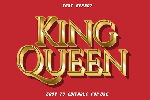 King queen editable text effect emboss luxury style