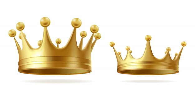 King or queen golden crowns