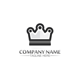 King and queen logo. crown logo template   icon illustration design Premium Vector
