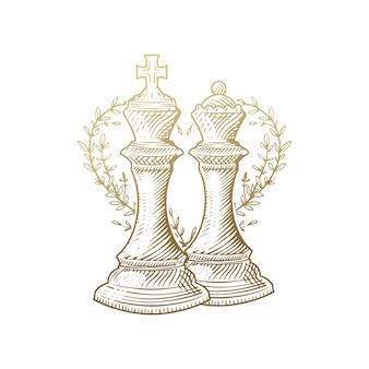 King and queen, luxury gold engraving chess pieces  with floral decoration