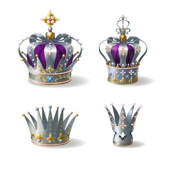 King, queen silver, golden or platinum crown decorated with gems and pearls, violet silk, velvet