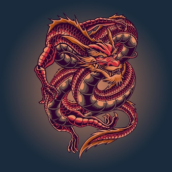 The king red dragon illustration