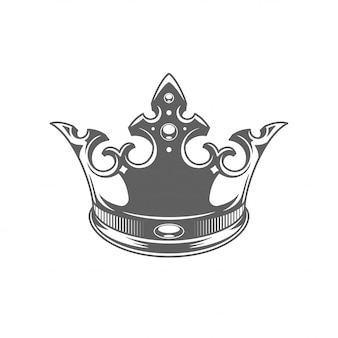 King royal crown ilhouette isolated on white background.
