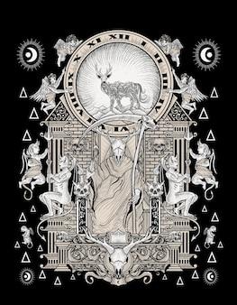 The king of satan illustration Premium Vector