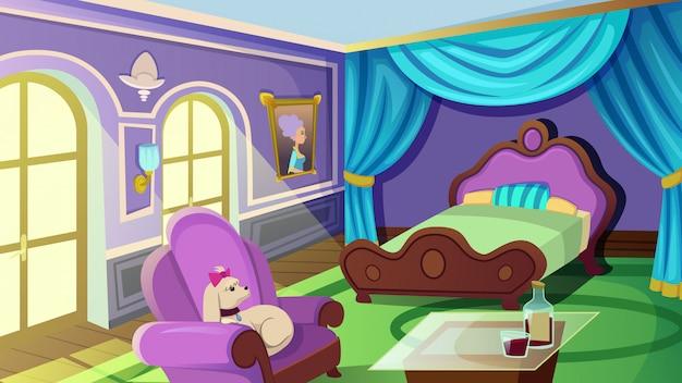 Роскошная женская спальня с двуспальной кроватью размера