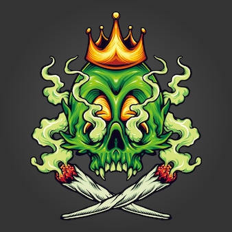 King skull cannabis weed smoking vector illustrations for your work logo, mascot merchandise t-shirt, stickers and label designs, poster, greeting cards advertising business company or brands.