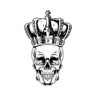 白で隔離される王の頭蓋骨