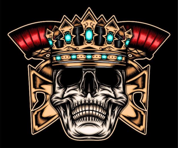 King skull spartan isolated on black