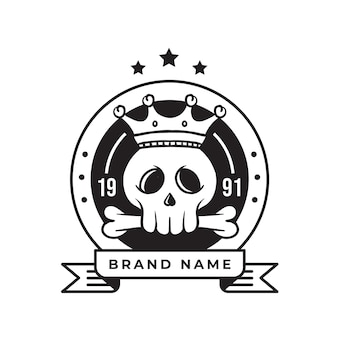 King skull vintage retro  logo for business and community