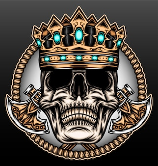 King skull with ax isolated on black