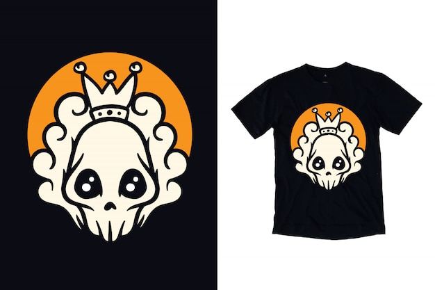 King skull with crown illustration for t shirt