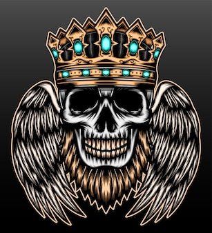 King skull with wing isolated on black
