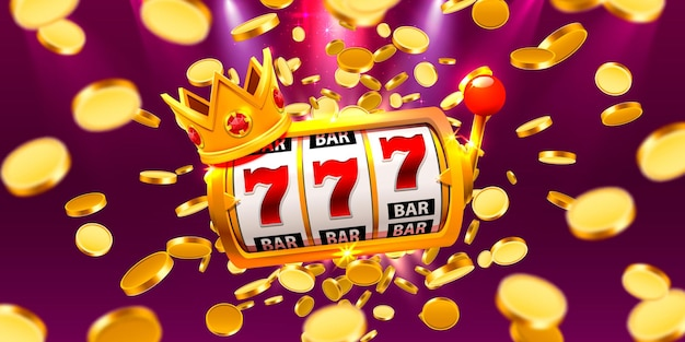King slots 777 banner casino on the coins background. vector illustration