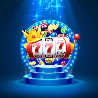 Король слотов 777 баннеров казино на синем фоне. векторная иллюстрация