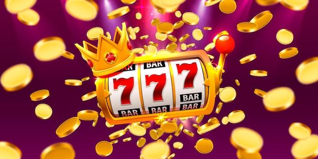 Король слотов 777 баннеров казино на фоне монет. векторная иллюстрация