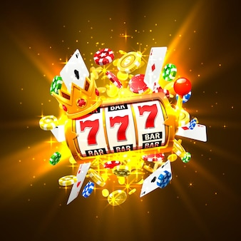 Король слотов 777 баннеров казино на золотом фоне. векторная иллюстрация