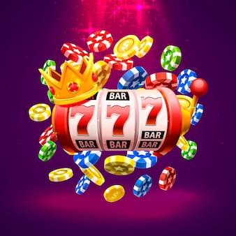 Король слотов 777 баннеров казино на красном фоне. векторная иллюстрация