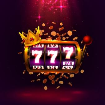 Король слотов 777 баннеров казино на красном фоне.
