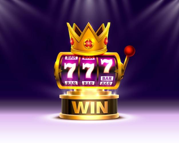 Король слотов 777 баннеров казино на фоне сцены.