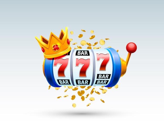 Король слотов 777 баннеров казино на белом фоне. векторная иллюстрация
