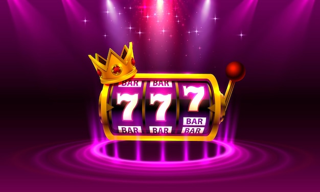 King slots 777 banner casino on the purple background.