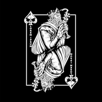 King of spades playing card with silhouette style
