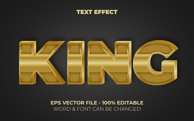 King text effect gold style editable text effect