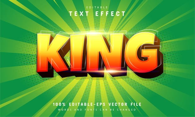 King text effect with orange gradient