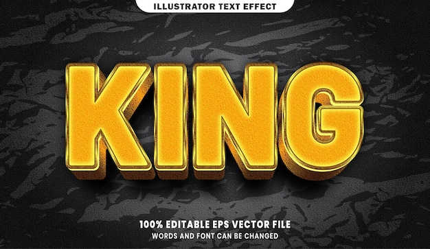 King text, font gold style editable text effect