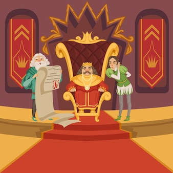 King on the throne and his retinue. cartoon characters set