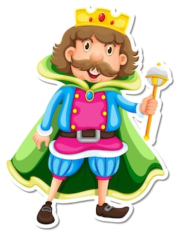 King with green robe cartoon character sticker