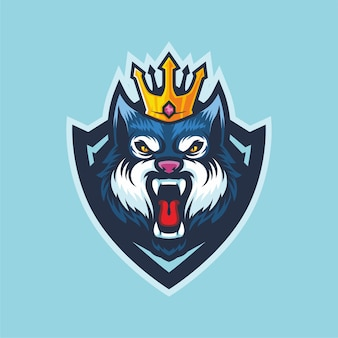 King wolf esport logo mascot design