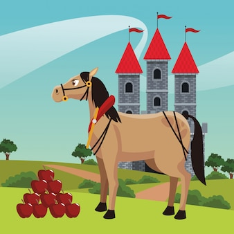 Kingdom castle with horse