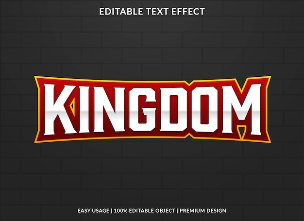 Kingdom editable text effect template premium vector