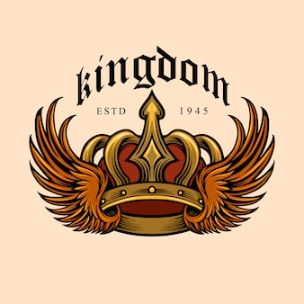 Kingdom elegant gold crown and wing illustrations