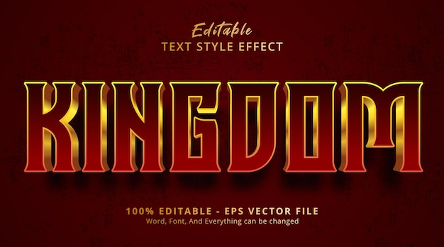 Kingdom text on luxury red gradient style effect, editable text effect