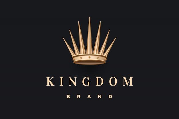 Логотип с золотой королевской короной и надписью kingdom