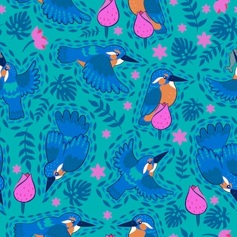 Kingfisher seamless pattern on a green background.  graphics.