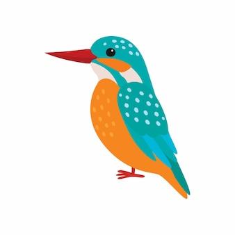 Зимородок вектор. концепция дикой природы хищных птиц в плоском дизайне. красивые зимородок птица сидения изолированные